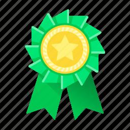 achievement, award, green, medal, prize, ribbon, trophy icon