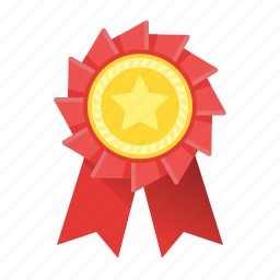 awards, badge, favorite, gold, medal, red, trophy icon