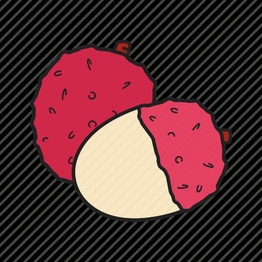 fruit, lichi, litchee, litchi nut, lychee, rambutan, tropical icon