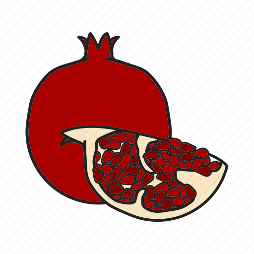 fruit, garnet fruit, pomegranate, tropical icon
