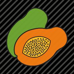 fruit, papaia, papaya, pawpaw, tropical icon