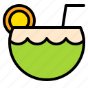 beverage, coconut, fruit, juice, tropical icon