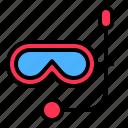 dive mask, diving mask, scuba, tropical icon