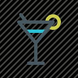 alcohol, drink, glass, lemon, martini icon