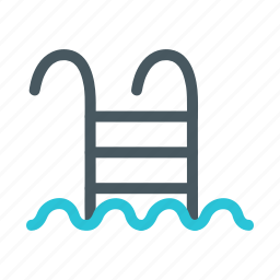 beach, ladder, pool, tropical, water icon