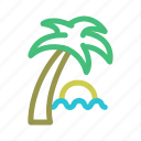 palm tree, shade, sun, sunset, tropical, water icon