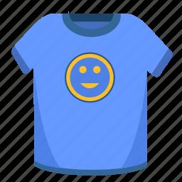 man, print, smile, tshirt, wear, wide icon