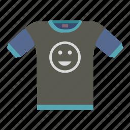 casual, dark, fun, print, smile, tshirt, wear icon
