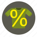 economic, percent, sale, shopping, tshirt, wear icon