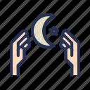color, hand, night, outline, pray, ramadan, tukicon