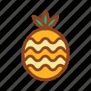 pineapple, set, summer, tukicon icon