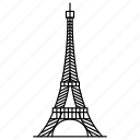 achitecture, eiffel, france, monument, paris, tower, travel icon