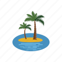 cartoon, island, nature, palm, plant, tree, tropical icon