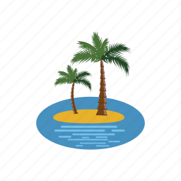 cartoon, island, nature, palm, plant, tree, tropical icon