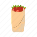 cartoon, chicken, kebab, meat, pita, shawarma, snack icon