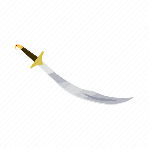 blade, cartoon, handle, knife, sword, turkish, weapon icon