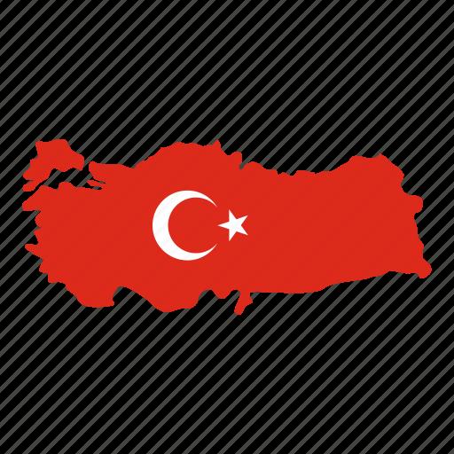 ankara, country, crescent, map, star, state, turkey icon