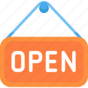 label, open, shop icon