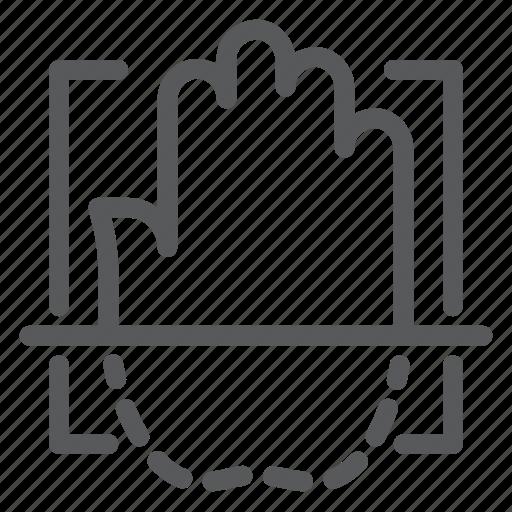 biometrics, identity, palm, palmprint, recognition, scanning, verification icon