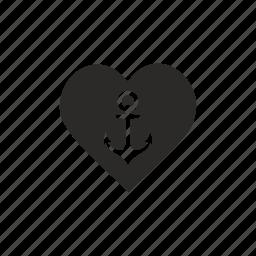 anchor, heart, salor, sea icon