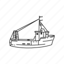 boat, fishing, fishing boat, sailboat, sea, transportation, travel icon