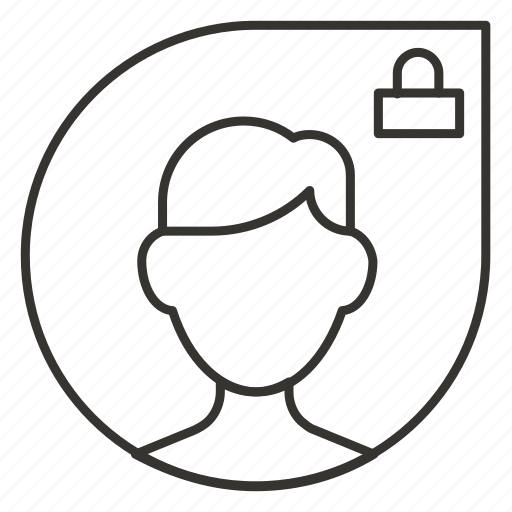 contact, lock, man, profile, security icon
