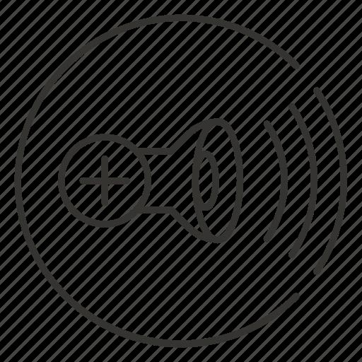 add, music, plus, sound, volume, waves icon
