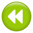 back arrow, forward, pause, rewind, skip, stop, video back icon