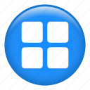 geometrical, menu, multimedia option, options, setup, squares icon