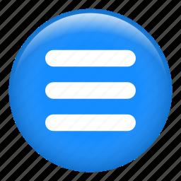 horizontal, interface, list, menu, options, three, web icon