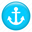 anchor, in ocean, navigation, sail, sailing, stop ship, web programming icon