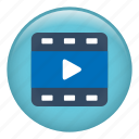 cinema, develop, film, film strip, play, shooting, video icon