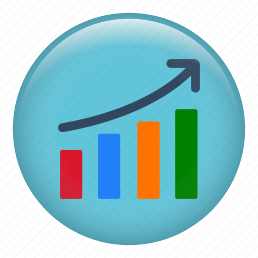 arrow, bars chart, business, chart, diagram, finance, graph icon