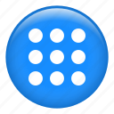 apps, choices, circle, grid, menu, options, setup