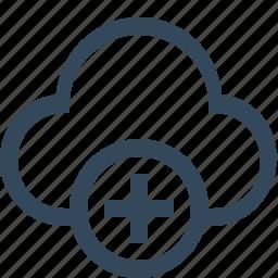 add cloud, cloud, cloud service, create, plus icon