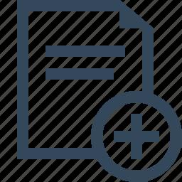 add document, add file, create, create file, file, new file icon