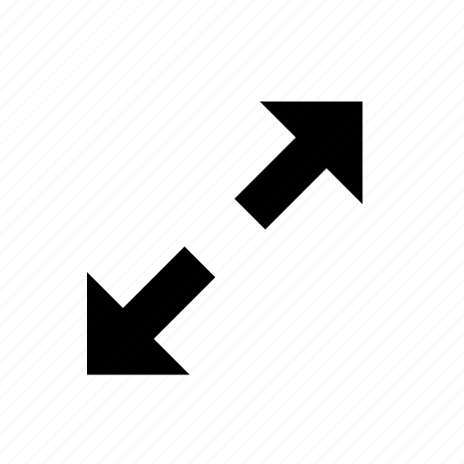 arrow, controls, diagonal, expand, interface icon