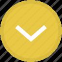 arrow, bottom, expand, round icon
