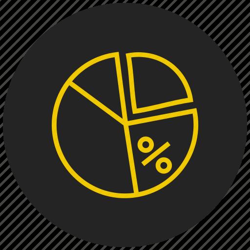 analytics, evaluation, indepth analysis, pie chart, pie graph, section, statistics icon