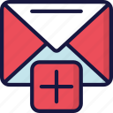 add, email, letter, mail, new, ui development