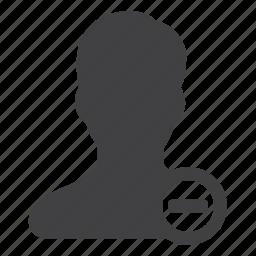 account, business, delete, person, remove, user icon