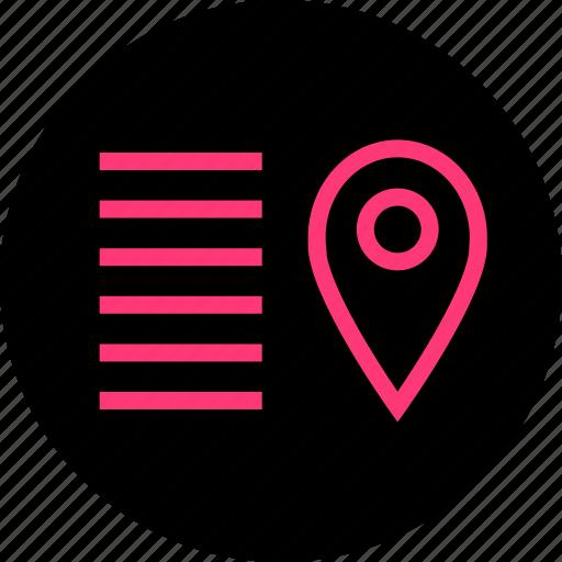 description, direction, locate, pin icon
