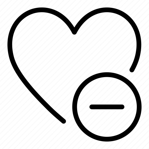bookmark, delete, favorite, heart, interface, minus icon
