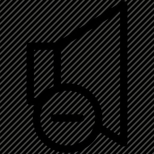 audio, down, music, sound, speaker, volume icon