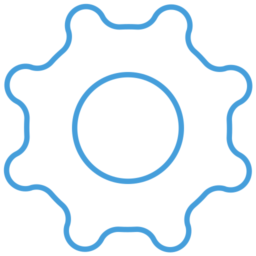 blue, free, gear, outline, setting, ui icon