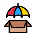 box, parcel, protection, safety, umbrella