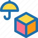 box, insurance, safety, umbrella, unboxing icon