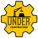 badge, build, crane, maintenance, sign, sticker, under construction icon