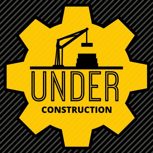 badge, build, crane, maintenance, sign, sticker, under construction icon