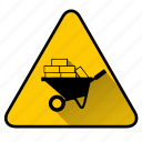 bricks, build, construct, construction, sign, wheelbarrow icon